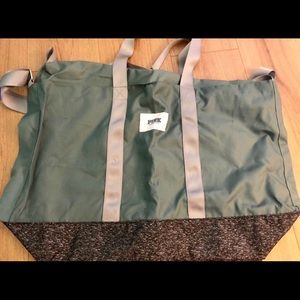 VS Victoria Secret Olive Green Large Duffle Tote
